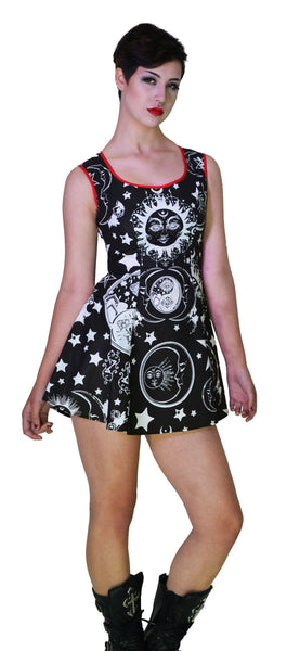 Disturbed Print Celestial Black Mini Dress - Aurora - Dr Faust