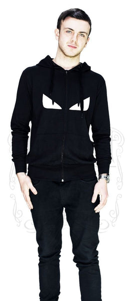 Evil Monster Eyes Men's Black Hoodie - Matthew - Dr Faust