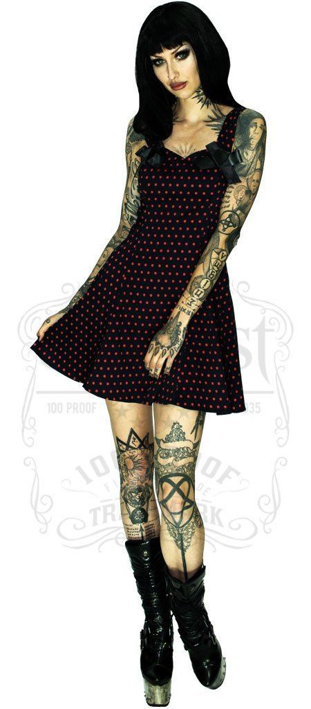 Red Polka Dots Black Mini Dress - Mia - Dr Faust