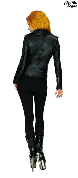 Vegan Leather Black Biker Jacket - Augusta