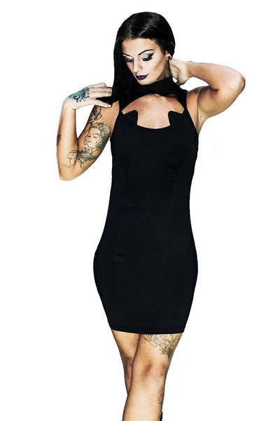 Cat Ears Black Bodycon Mini Dress - Catherine - Dr Faust