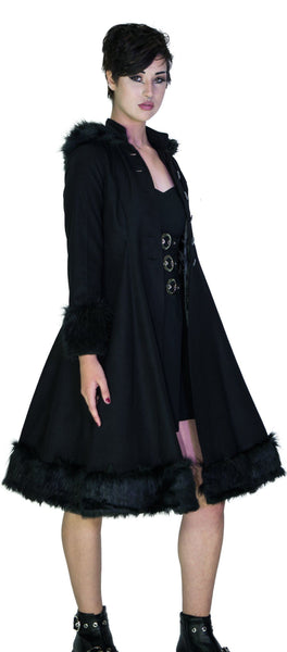 Faux Fur Hooded Black Wool Coat - Glinda - Dr Faust