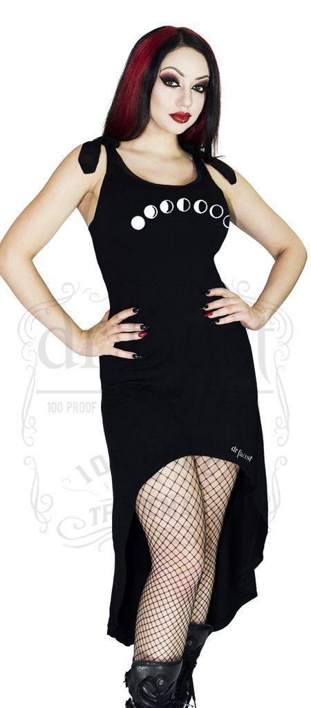 Lunar Phases Moon Black High-Low Dress - Hadlee - Dr Faust