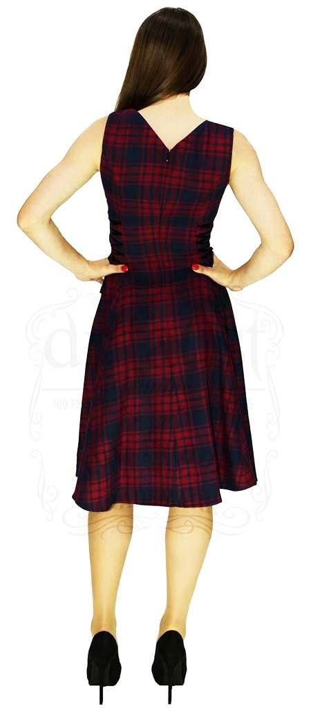 Red and Blue Tartan Woven Midi Dress - Jasmine - Dr Faust