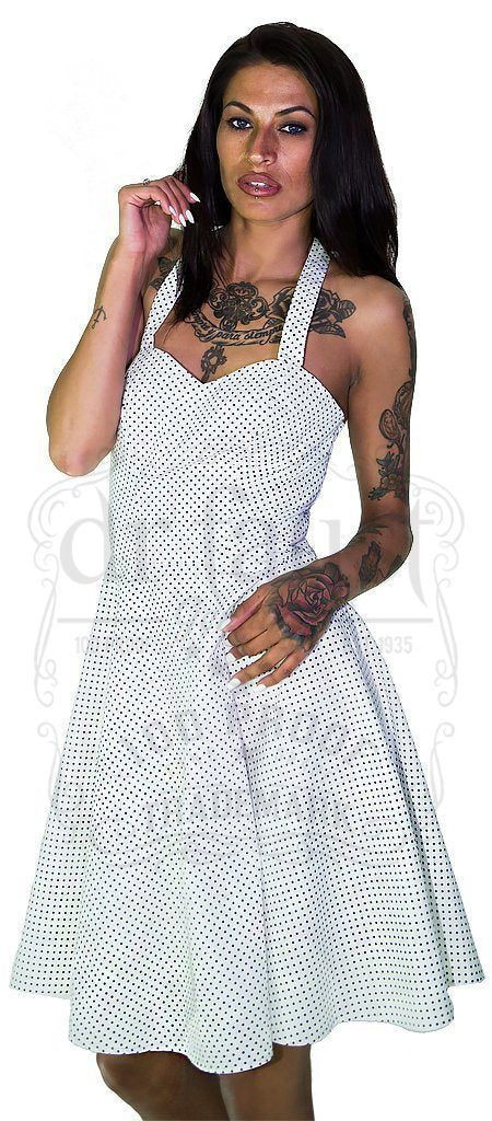 Black Polka Dot White Midi Dress - Soleil - Dr Faust