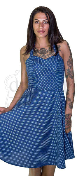 White Polka Dot Yale Blue Midi Dress - Thalia