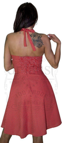 White Polka Dot Blush Red Vintage Midi Dress - Thalia - Dr Faust