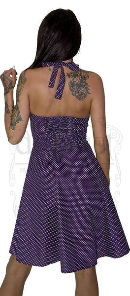White Polka Dot Ultra Violet Rockabilly Midi Dress - Thalia - Dr Faust