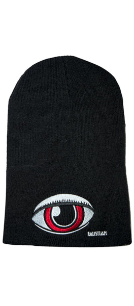 Large Red Eye Faustian Black Beanie - Zane - Dr Faust