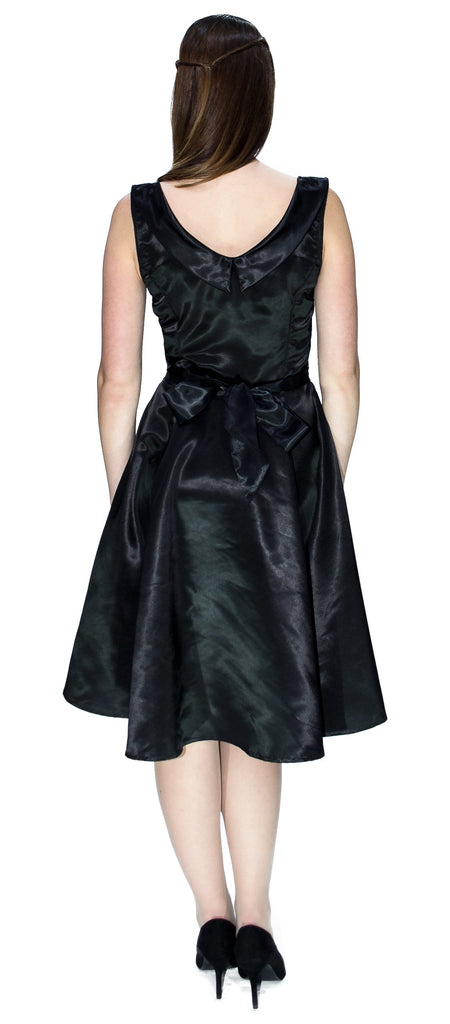 Draped Heart Silk Black Midi Dress - Julia - Dr Faust