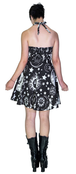 Enzyme Washed Celestial Black Mini Dress - Poppy - Dr Faust