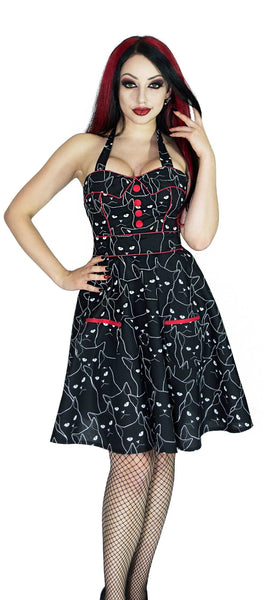 Evil Cats Black Mini Dress - Gatta - Dr Faust