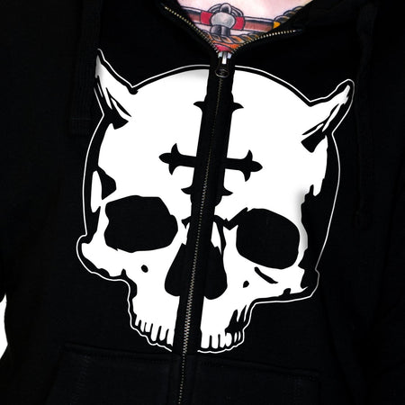 Evil Skull Thick Men's Black Hoodie - Chad - Dr Faust