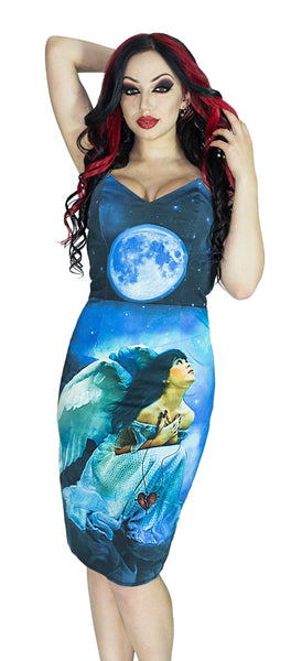 Fallen Angel Blue Moon Night Sky Midi Dress - Angel - Dr Faust