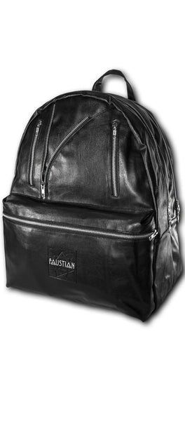 Faustian Biker Vegan Leather Black Backpack - Unique - Dr Faust