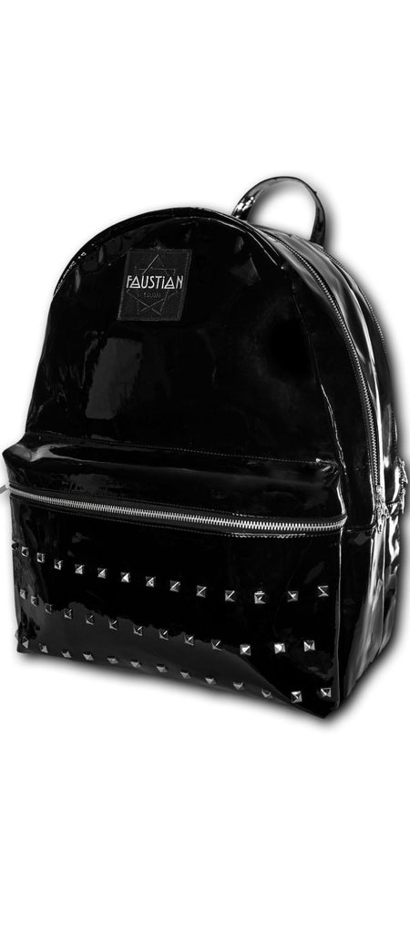 Faustian Black Patent Pyramid Backpack - Shining - Dr Faust