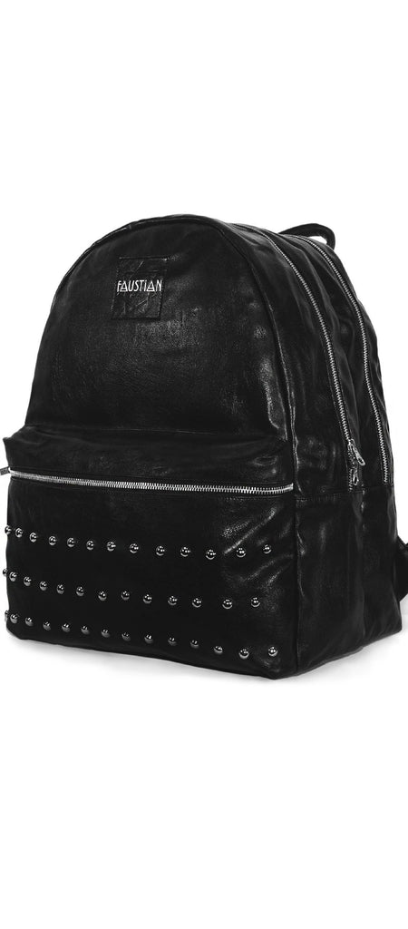 Faustian Round Studs Vegan Leather Black Backpack - Vipera - Dr Faust