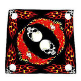 Flaming Flying Eagle Skull Black Cotton Bandana - Karl - Dr Faust
