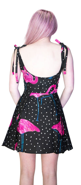 Flamingos White Polka Black Mini Dress - Flo - Dr Faust