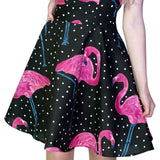 Pink Flamingo White Polka Black Mini Dress - Flo - Dr Faust