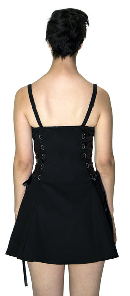 Zip Up Front D-Ring Black Mini Dress - Nylah - Dr Faust