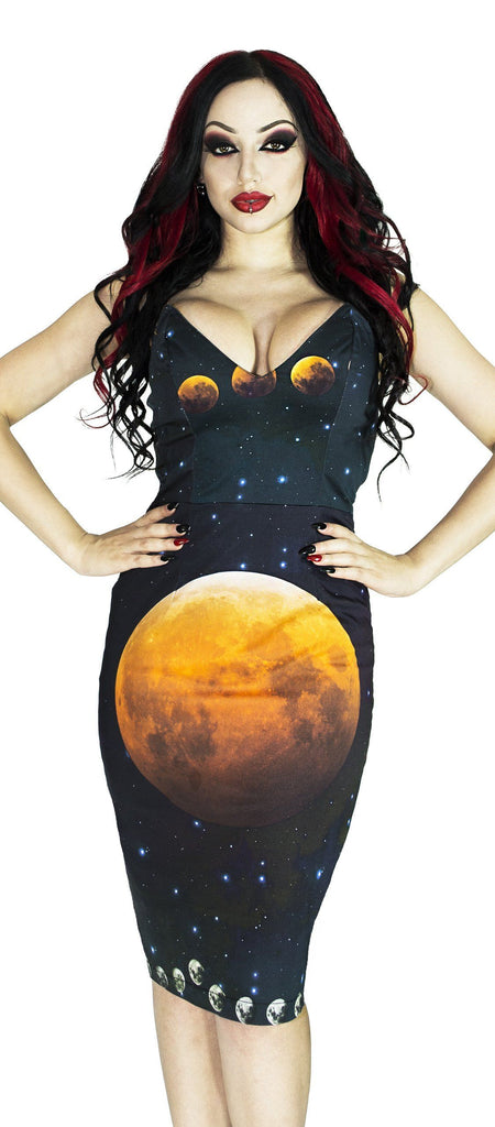 Full Blood Moon Night Sky Midi Dress - Amaris - Dr Faust