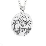 Full Moon Mountains Scenery Pendant and Necklace - Ryleigh - Dr Faust