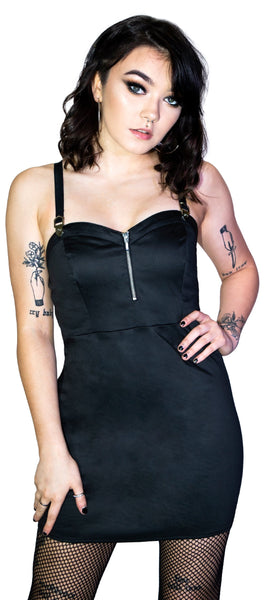 Geometric Metal Buckle Black Mini Dress - Serenity - Dr Faust