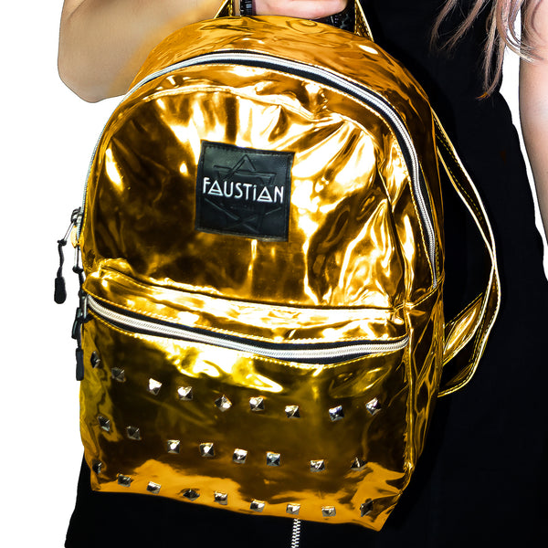 Gold Foil Patent Vegan Leather Backpack - Shining