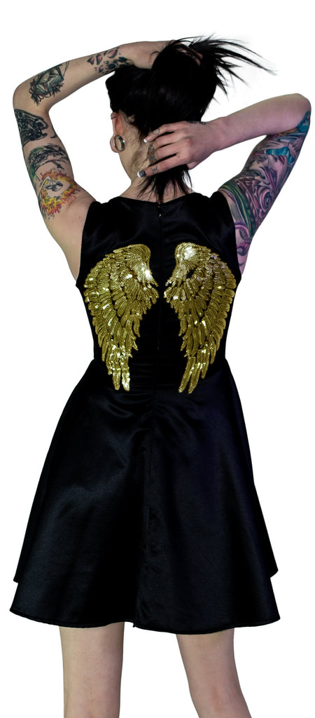 Gold Sequin Wings Black Silk Mini Dress - Hope - Dr Faust