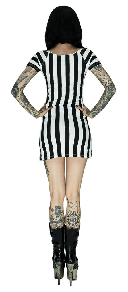 Beetlejuice Gorgeous Monochrome Dress - Mila - Dr Faust
