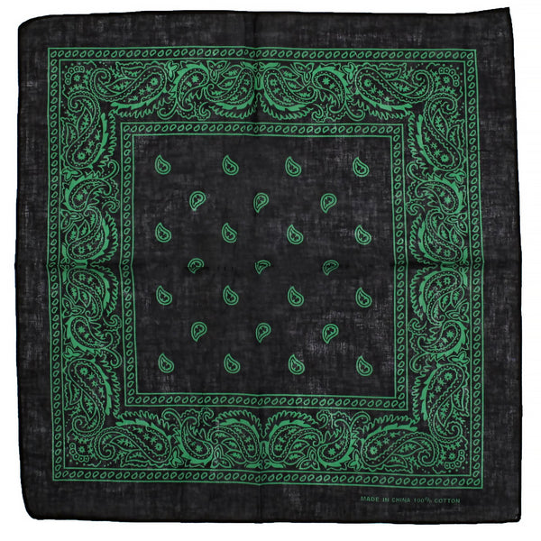 Green Design Black Cotton Bandana - Everard - Dr Faust