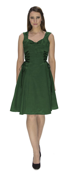 Raw Silk Green Midi Dress - Julianna - Dr Faust