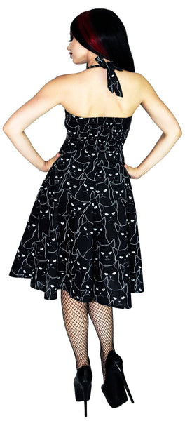 Grumpy Cats Black Midi Dress - Felina - Dr Faust