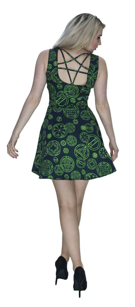 Green Mystical Spell Black Mini Dress - Hazel - Dr Faust