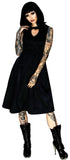 Heart Raw Silk Black Midi Dress - Maze - Dr Faust