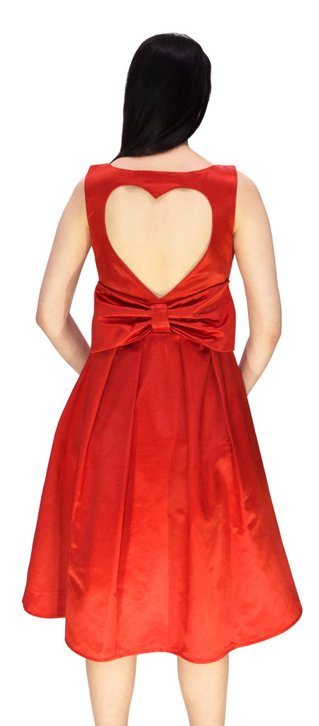 Heart Raw Silk Red Midi Dress - Lyla - Dr Faust