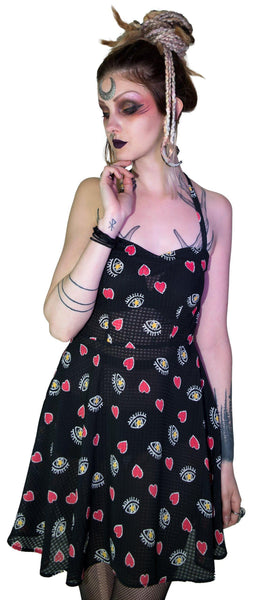 Hearts and Eyes Cute Black Sheer Mini Dress - Alexis - Dr Faust