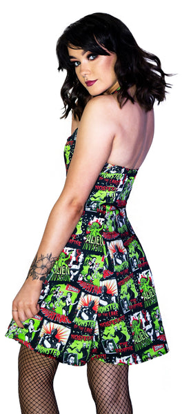 Horror B Movie Black Mini Dress - Myra - Dr Faust