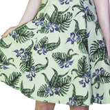 Indigo Flowers Olive Green Rockabilly Midi Dress - Jadis - Dr Faust