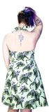Indigo Flowers Olive Green Plus Size Rockabilly Midi Dress - Jadis - Dr Faust
