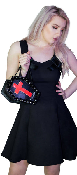 Interchangeable Magnetic Crosses Studs Vegan Leather Small Coffin Bag - Katana - Dr Faust