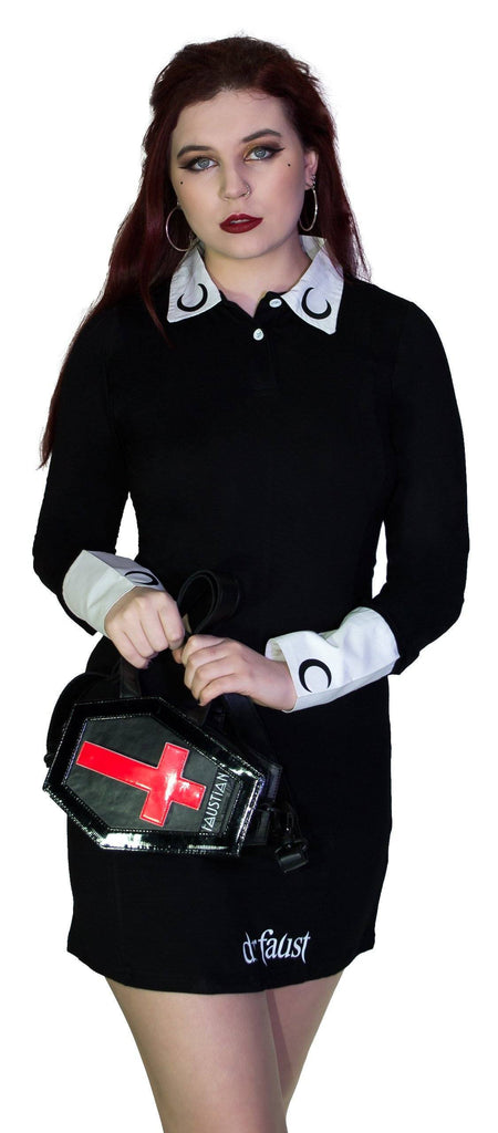 Interchangeable Magnetic Crosses Vegan Leather Small Coffin Bag - Katana - Dr Faust