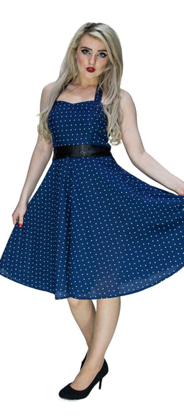 White Stars Navy Midi Dress - Kate - Dr Faust