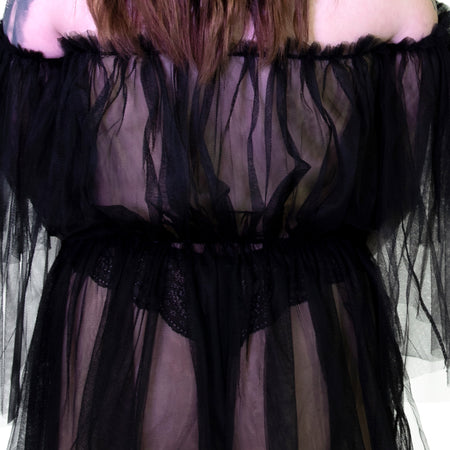 Lace Bardot Black Sheer Mini Dress - Wilhelmina - Dr Faust