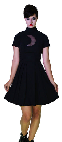 Lace Moon Crescent Keyhole Short Sleeve Black Mini Dress - Nancy - Dr Faust