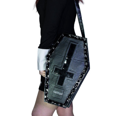 Large Black Patent Inverted Cross Vegan Leather Coffin Bag - Petra - Dr Faust