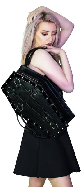 Large Black Pentagram Vegan Leather Coffin Bag - Primrose - Dr Faust