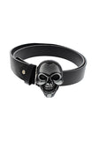 Large Skull Buckle Black Vegan Leather Belt - Arthur - Dr Faust