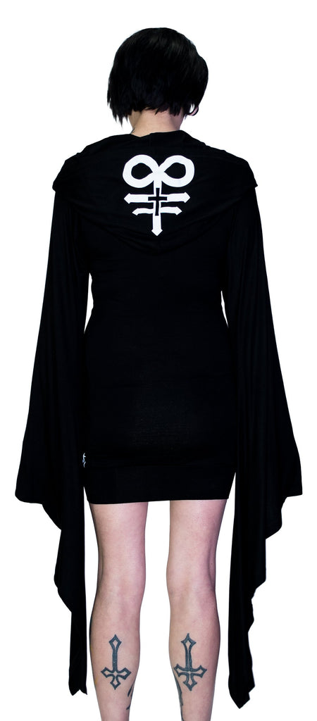 Leviathan Cross Hooded Black Mini Dress - Melany - Dr Faust